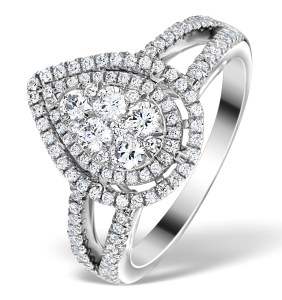 Halo Diamond Engagement Ring Galileo with 1 carat of Diamonds in 18K White Gold
