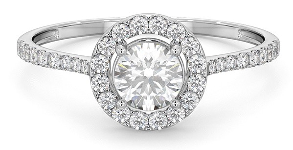 Katie Piper style halo engagement ring with sidestones