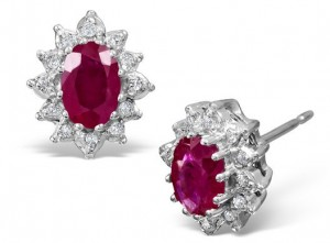 Ruby and Diamond Earrings in a white gold setting