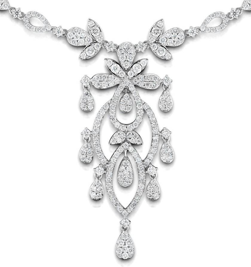 "Vintage Diamond Necklace ""Pyrus"" collection with 9.00 carats of H/SI Diamonds in 18K White Gold and a Victorian style intricate pattern"