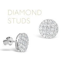 Beautiful diamond stud earrings perfect gifts for Valentine's Day from The Diamond Store UK