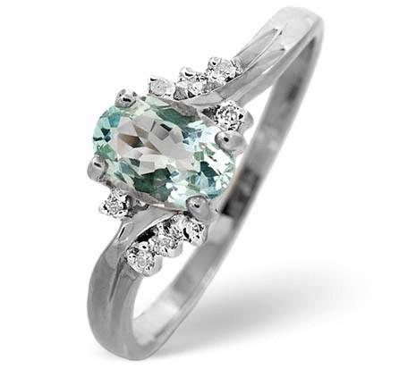 Beautiful aquamarine and diamond ring in white gold by TheDiamondStoreUK under 200 pounds