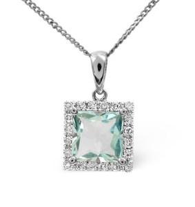 Aquamarine 1.40CT And Diamond 9K White Gold Pendant