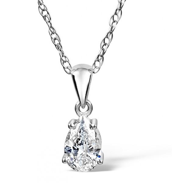 Keira 18K White Gold Pear Shape Diamond Pendant 0.25CT G/VS