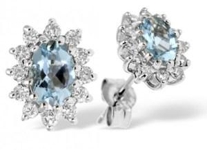 Aquamarine 6 x 4mm And Diamond 9K White Gold Earrings