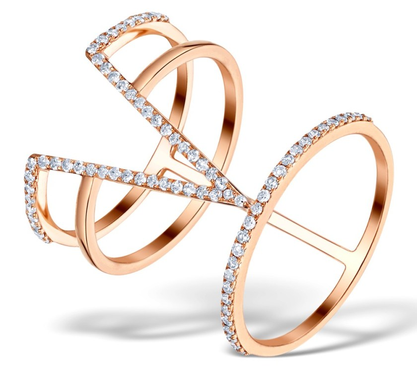 Ring with linked multiple bands and v-shape design in rose gold with diamonds - Vivara Collection by TheDiamondStore UK