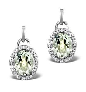 Aquamarine 3.69CT And Diamond 9K White Gold Drop Earrings