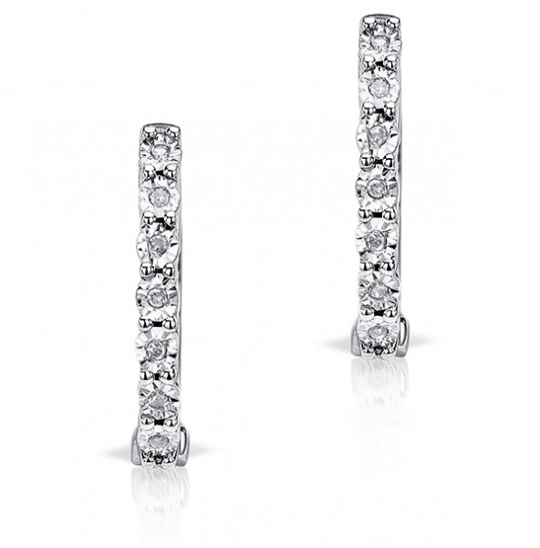 0.06ct Diamond and 9K White Gold Earrings