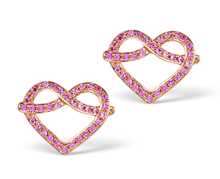 Heart stud earrings with pink sapphires on rose gold - Vivara Collection by TheDiamondStore UK