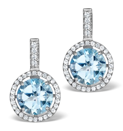 Blue Topaz and White Topaz Earrings in Sterling Silver