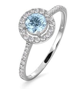Halo Aquamarine 0.50CT And Diamond 18K White Gold Ring