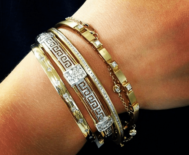 How to stack diamond and gold bracelet bangles - jewellery tips by TheDiamondStore UK