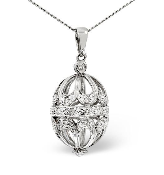 Diamond and white gold egg pendant - Easter egg jewellery