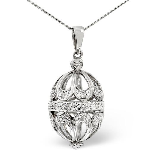 Diamond and white gold egg pendant - Easter egg jewellery