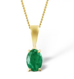 Oval emerald pendant in yellow gold UK