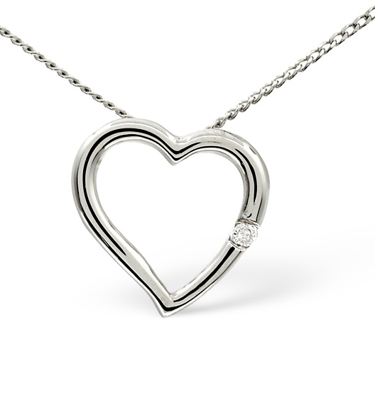 HEART PENDANT 0.03CT DIAMOND 9K WHITE GOLD