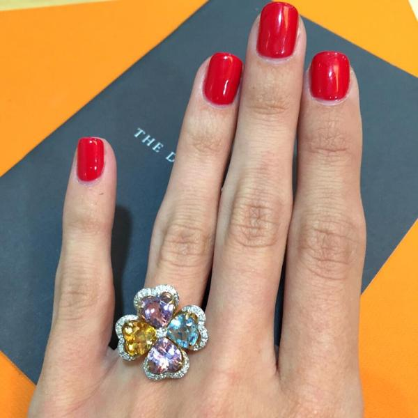 multi-gem flower ring pastel - summer 2016 jewellery trends