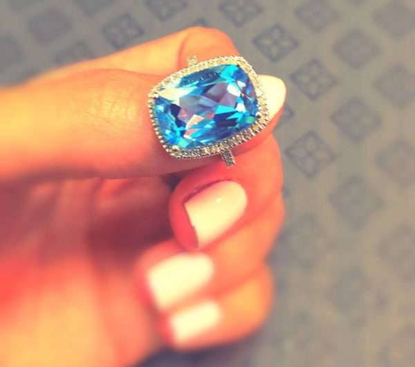 blue topaz statement ring - summer 2016 jewellery trends