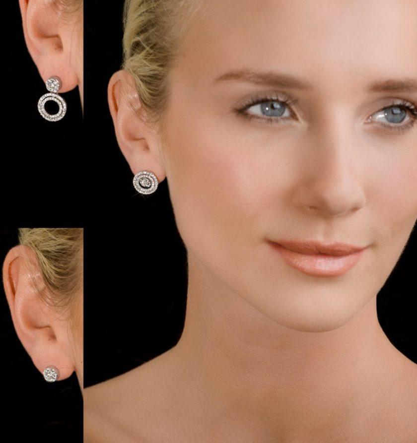 ATHENA DIAMOND DROP EARRINGS MULTI WEAR 1CT IN 18K WHITE GOLD - P3493