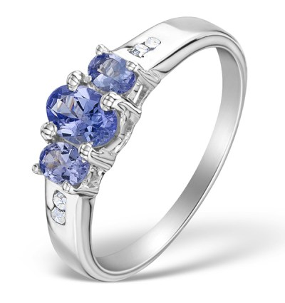 DIAMOND AND 0.82 CARATS AA TANZANITE 925 STERLING SILVER RING - Graduation Gifts
