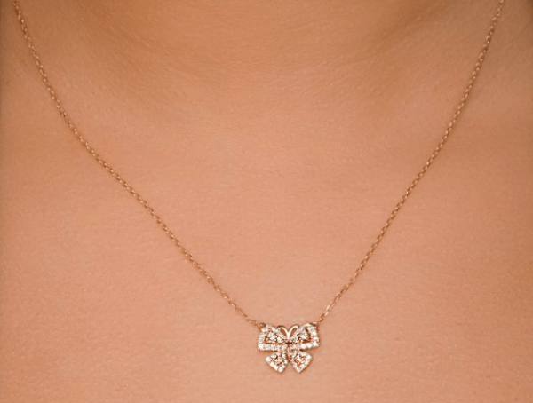 rose gold diamond butterfly necklace - summer 2016 jewellery trends