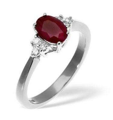 Ruby diamond three-stone ring