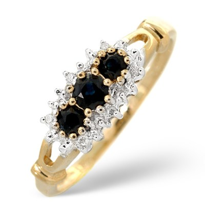 best sapphire jewellery - SAPPHIRE 0.34CT AND DIAMOND 9K GOLD RING