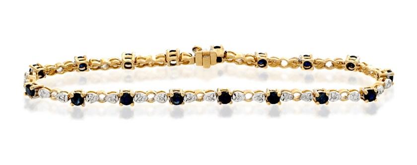 best sapphire jewellery - 9K GOLD DIAMOND AND SAPPHIRE CLAW SET LINK BRACELET