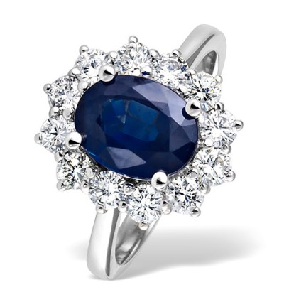 best sapphire jewellery - SAPPHIRE 2.30CT AND DIAMOND 1.00CT 18K WHITE GOLD RING