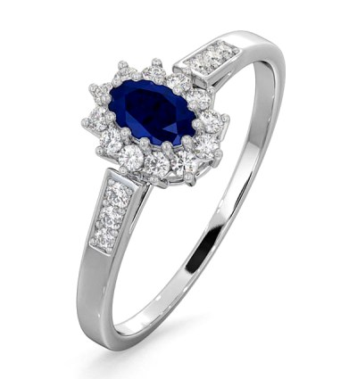 best sapphire jewellery - SAPPHIRE 5 X 3MM AND DIAMOND 18K WHITE GOLD RING