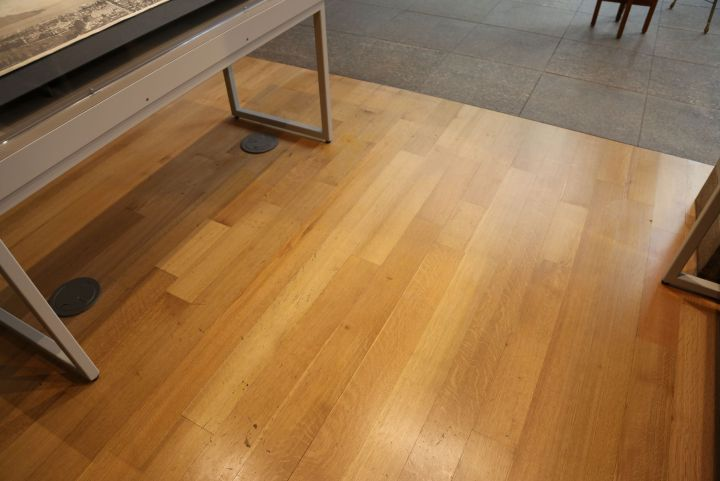 While most of the museum has been repaired since the break in, dents and marks on the wood floor remain as testiment to the robbers' presence.