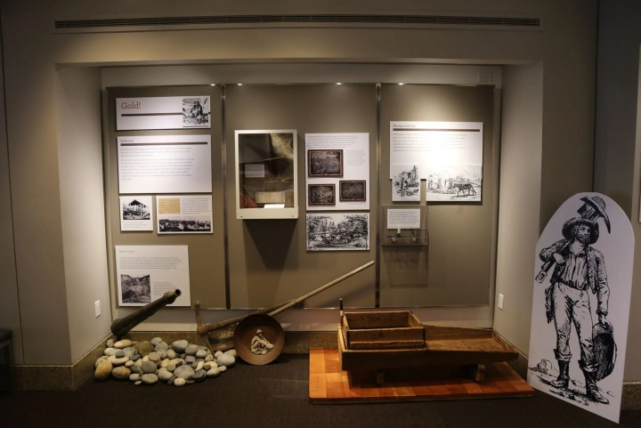 Display on the history of the California Gold Rush.