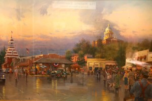 Painting of the Placer County Courthouse by Thomas Kinkade.