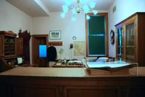 The old sheriff's office has been preserved as an exhibit of placer legal history.