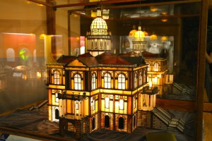 Glass model of the Placer County Courthouse.