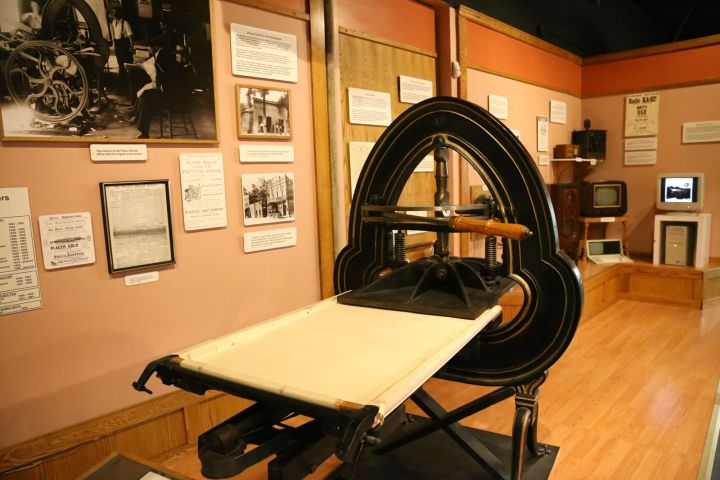 Placer Herald Printing Press on display in the Placer County Museum.