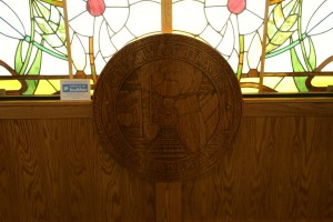 Placer County Seal carved in the entrance to the Museum.