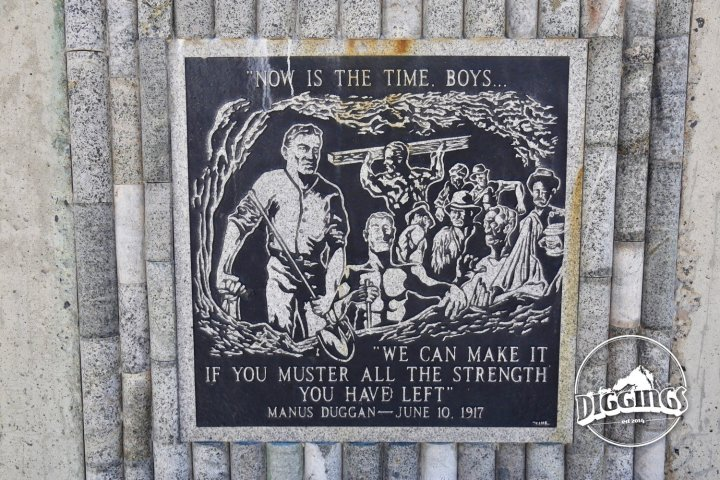 Tile commemorating the miners who struggled to survive the Granite Mountain-Speculator Fire
