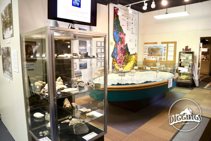 Rock samples, maps, and dioramas at the Idaho Museum of Mining & Geology