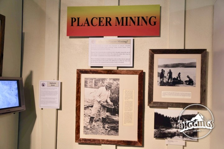 Placer mining display at the Idaho Museum of Mining & Geology