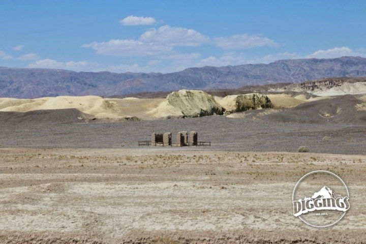 View over the yellow Furnace Creek playa from the Harmony Borax Works