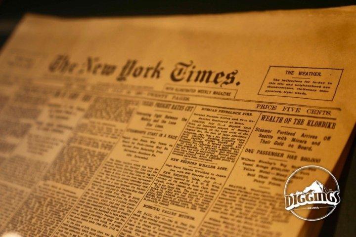 Klondike gold strike announced in The New York Times