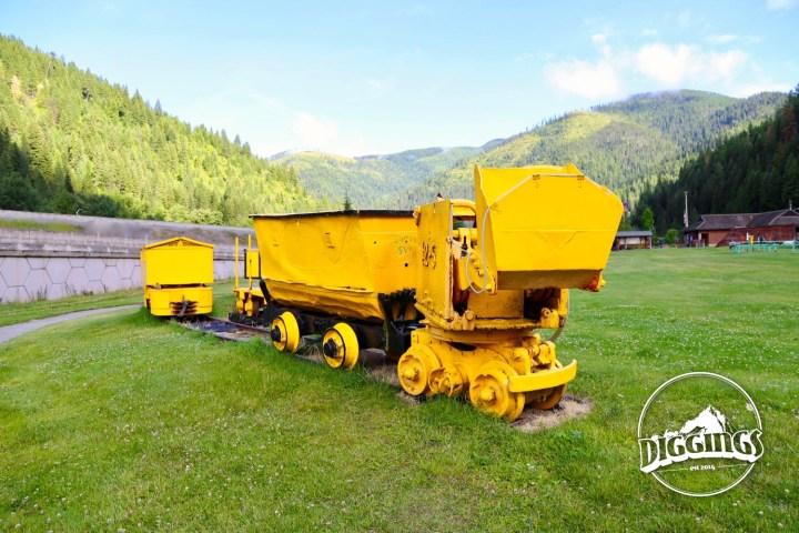 Shovel and ore cart at the Wallace, Idaho Silver History Site