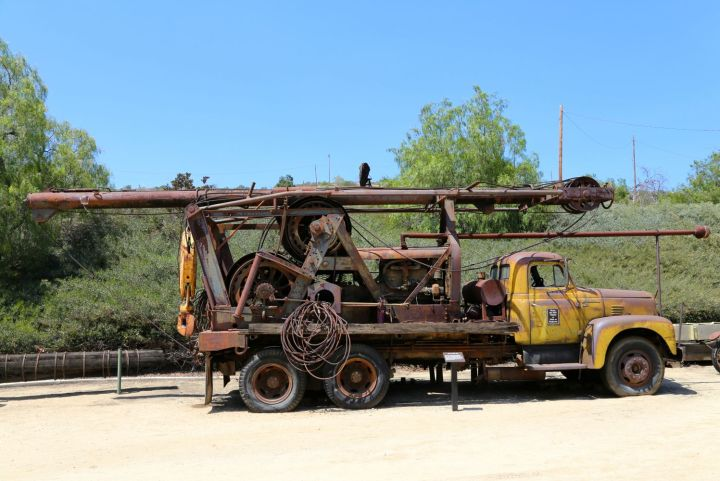 Well Pulling Rig in the Olinda Oil Museum equipment yard.