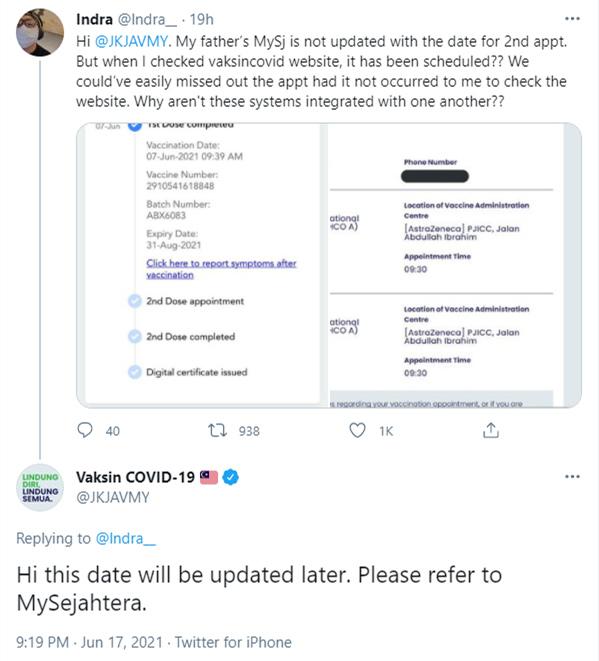MySejahtera和JKJAV 网站的预约资讯不同步?以MySejahtera为准- 新!时代媒体