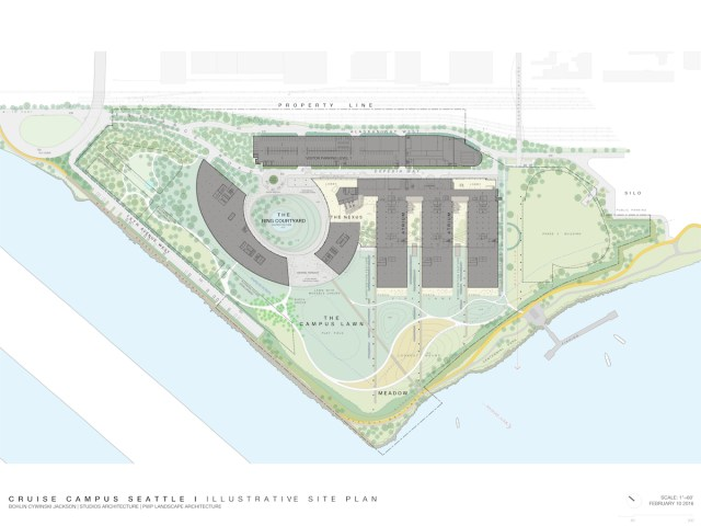 Expedia's Phase I includes new construction, the adaptive reuse of existing buildings, and the development of outdoor green spaces. Areas for potential future development (Phase II or III) could occur on the northwest and southeast portions of the site and are noted in black outline. Photo courtesy of Bohlin Cywinski Jackson.