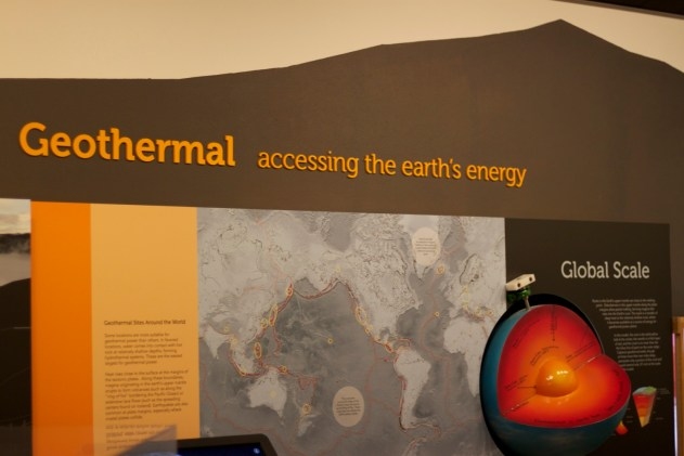 "A large display demonstrates how the ""ring of fire"" around the pacific has many geothermic sites where the heat from the earth's core heats water in the crust  that can power geothermal energy plants."
