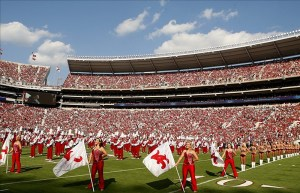 September 22, 2012; Tuscaloosa, AL, USA; Alabama Crimson Tide marching band the Million Dollar Band take to the field before the start of their game against the Florida Atlantic Owls at Bryant Denny Stadium. Photo Credit: John David Mercer-US PRESSWIRE