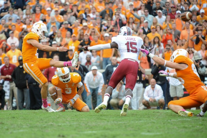 Oct 19, 2013; Knoxville, TN, USA; Tennessee Volunteers kicker Michael Palardy (1) kicks a field goal with 3 seconds left to win the game against the South Carolina Gamecocks at Neyland Stadium. Tennessee won 23 to 21. Mandatory Credit: Randy Sartin-USA TODAY Sports