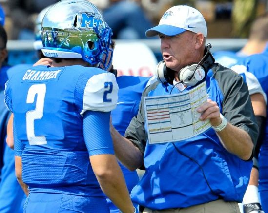 Oct 4, 2014; Murfreesboro, TN, USA; Middle Tennessee Blue Raiders head coach Rick Stockstill talks to Middle Tennessee quarterback Austin Grammer (2) during the first half against the Southern Miss Golden Eagles at Floyd Stadium. Middle Tennessee won 37-31. Mandatory Credit: Jim Brown-USA TODAY Sports
